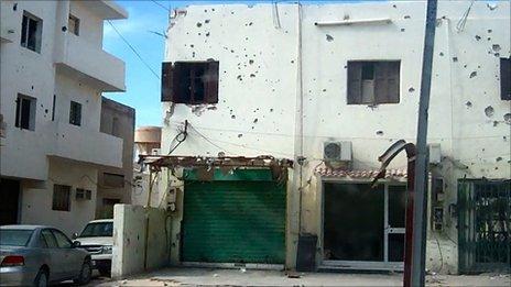 Battle-scarred building in western Libya