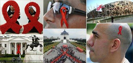 Red ribbons around the world