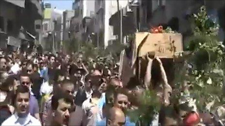 Mobile phone video of recent funeral procession in Jisr al-Shughour