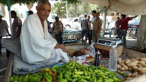 Vegetable seller in Sidi Bouzid