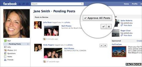 Facebook wall approval