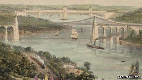 Lithograff gan Picken o Bont Menai a Phont Britannia, o tua 1850