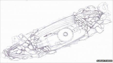 Sarah Paris sketch of Viking boat burial