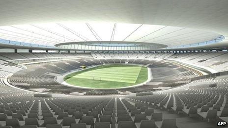 Handout image released on 20 September 2010, in Rio de Janeiro, showing the Mario Filho stadium, better known as Maracana, as it will look after alterations.