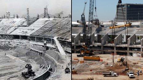 Maracana being built. Photo Suderj - Maracana renovation