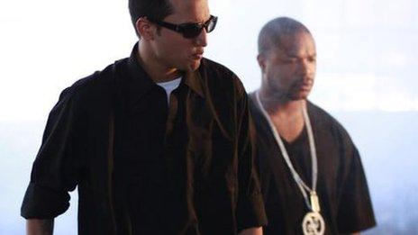 Adil Omar with US rapper Xzibit in a video shoot in Los Angeles