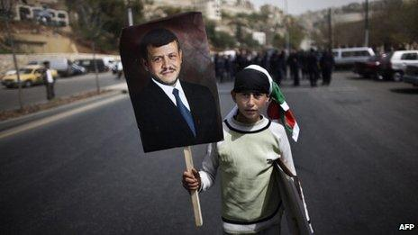 Boy at Amman protest calling for reform - April 2011