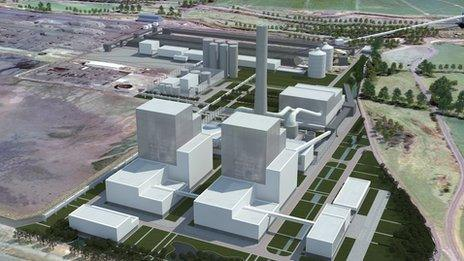 Artist's impression of coal-fired power station at Hunterston