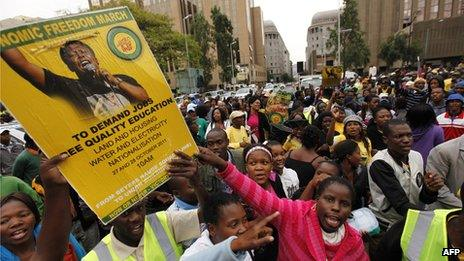 Thousands march during a protest organised by Julius Malema