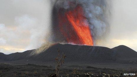 A general view is seen of the Nyamulagira Volcano eruption 22km from the city of Goma, 16 November 2011