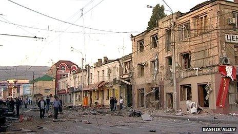 Bomb-damaged street in Dagestan