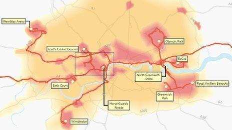 TfL heatmap for 2012