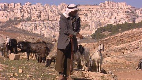 Palestinian shepherd in front of settlement near Bethlehem