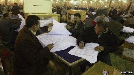 Egyptian election staff members count votes in a polling station during parliamentary run-off elections at Shubra in El-Kalubia, on the outskirts of Cairo, January 11, 2012