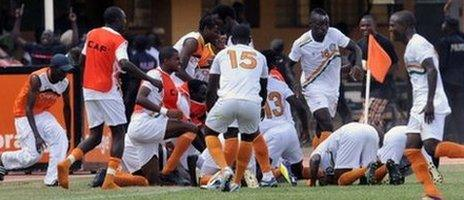 Players celebrate after qualifying for the Cup of Nations (Sept 2011)