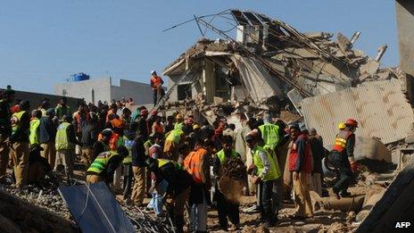 Rescue operation at the site of the collapse