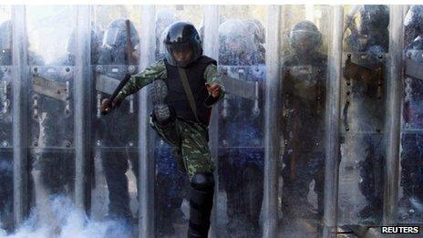Security forces during recent protests in the Maldives