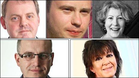 Guto Bebb, Rhys Iorwerth, Gwyneth Lewis, Simon Brooks a Meri Huws
