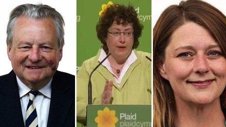 Ymgeiswyr am yr arweinyddiaeth: Dafydd Elis Thomas, Elin Jones, Leanne Wood