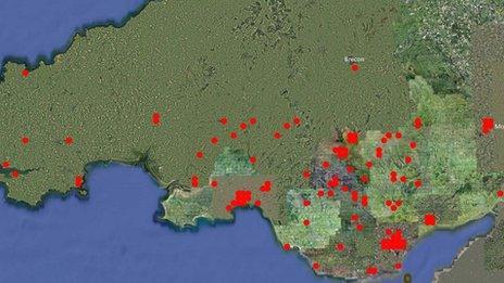 Map o'r lleoliadau ar draws de Cymru
