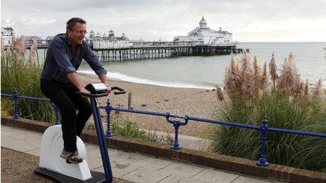 Michael Mosley on exercise bike