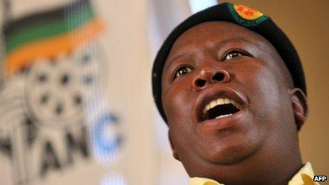 ANC's Youth Leader Julius Malema addresses supporters in Thaba Nchu, some 50 kilometres outside Bloemfontein on 6 January 2012, during a visit to mark South Africa's ruling African National Congress centenary.