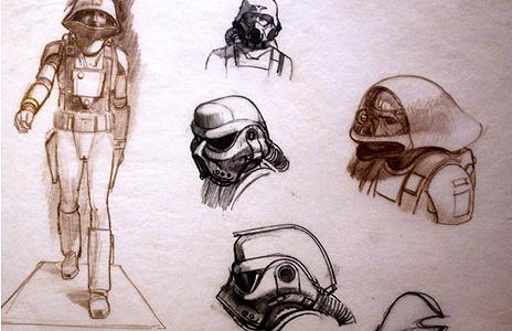 Star Wars conceptual sketches by Ralph McQuarrie