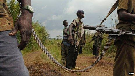 Fighters of the Patriotic Force of Resistance for Ituri militia (FRPI) in 2006