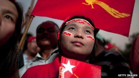 NLD supporters in Rangoon on 1 April 2012