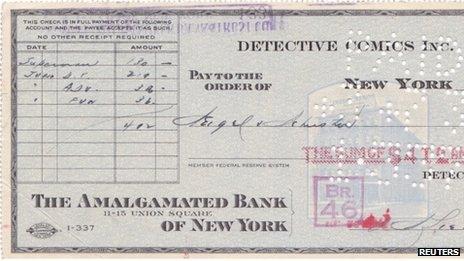 The original cheque for Superman, 17 April 2012