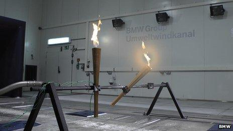 The torch being tested in BMWs wind tunnel