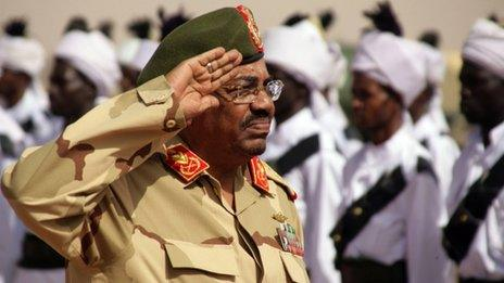 Sudanese President Omar al-Bashir salutes during a visit to al-Obeid, North Kordofan, Sudan, Thursday, April 19, 2012