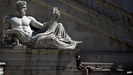 Statue of the River God Tiberinus, Piazza del Campidoglio