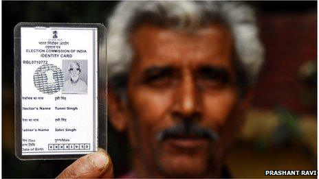 Tunni Rai with his newly discovered voters identity card