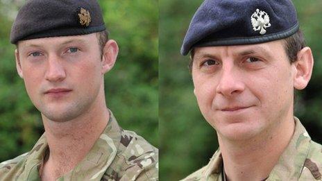 David Boyce (ch) a Richard Scanlon a fu farw yn Afghanistan yn 2011