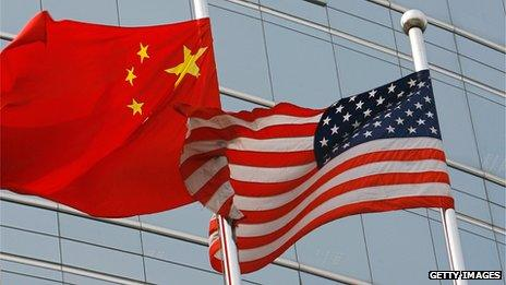 Chinese and US flags (file photo)