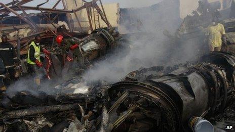 The scene of the air crash in Lagos