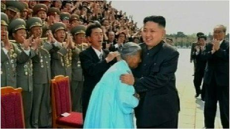 Kim Jong-un meeting with the General Mobilisation Movement for Land Management (Source: North Korean TV)