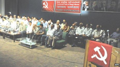 Members of the newly formed Communist Party of Nepal - Maoist