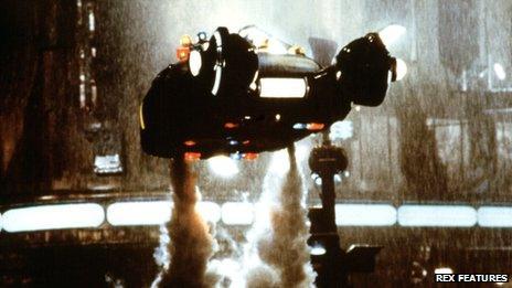 Flying car in scene from Blade Runner