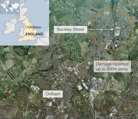 Map of explosion in Oldham