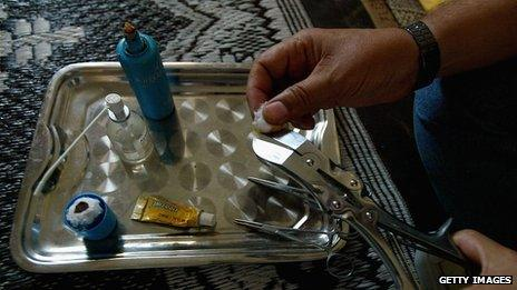 Tools for circumcision on a tray