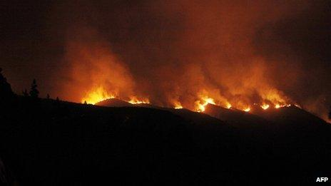 Wildfire in south of Tenerife