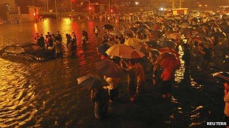 Guangqumen overpass in Beijing, 21 July