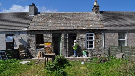 Restoration work on one of the cottages