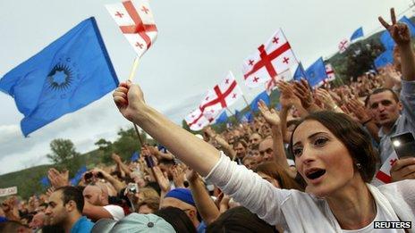 Supporters of Bidzina Ivanishvili at a rally in Mtskheta, outside Tbilisi