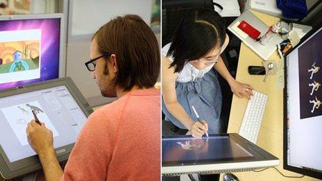 Google employees creating doodles