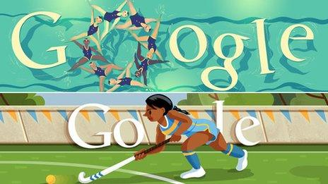 Two Olympics Google doodles