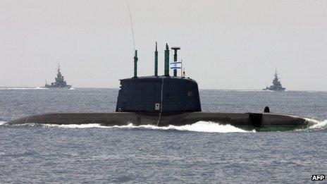Escorted by navy missile ships, Israeli submarine 'Dolphin' sails along the Mediterranean Sea near the coastal city of Tel Aviv (File)