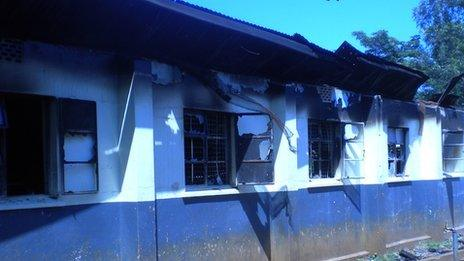 Burnt out dormitory at Asumbi Boarding Primary School, Homa Bay county, Kenya